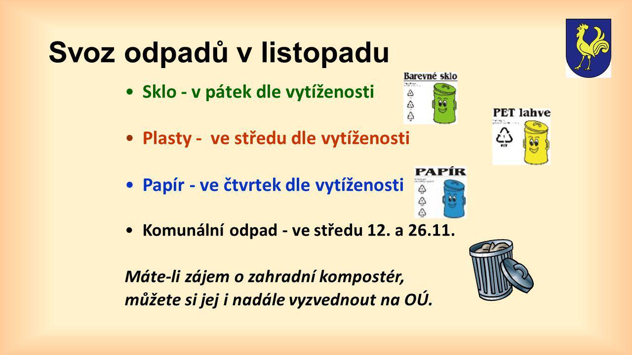 Svoz odpadů v listopadu Sklo - v pátek dle vytíženosti Plasty - ve středu dle vytíženosti Papír - ve čtvrtek dle vytíženosti Komunální odpad - ve stře