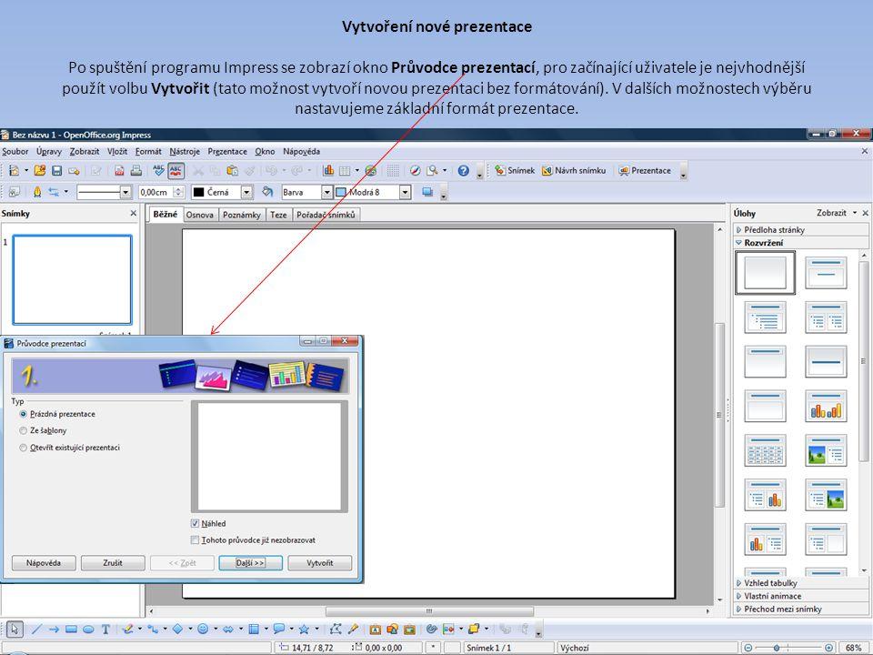 Vytvoření nové prezentace Po spuštění programu Impress se zobrazí okno Průvodce prezentací, pro začínající uživatele je nejvhodnější použít volbu Vytvořit (tato možnost vytvoří novou prezentaci bez formátování).