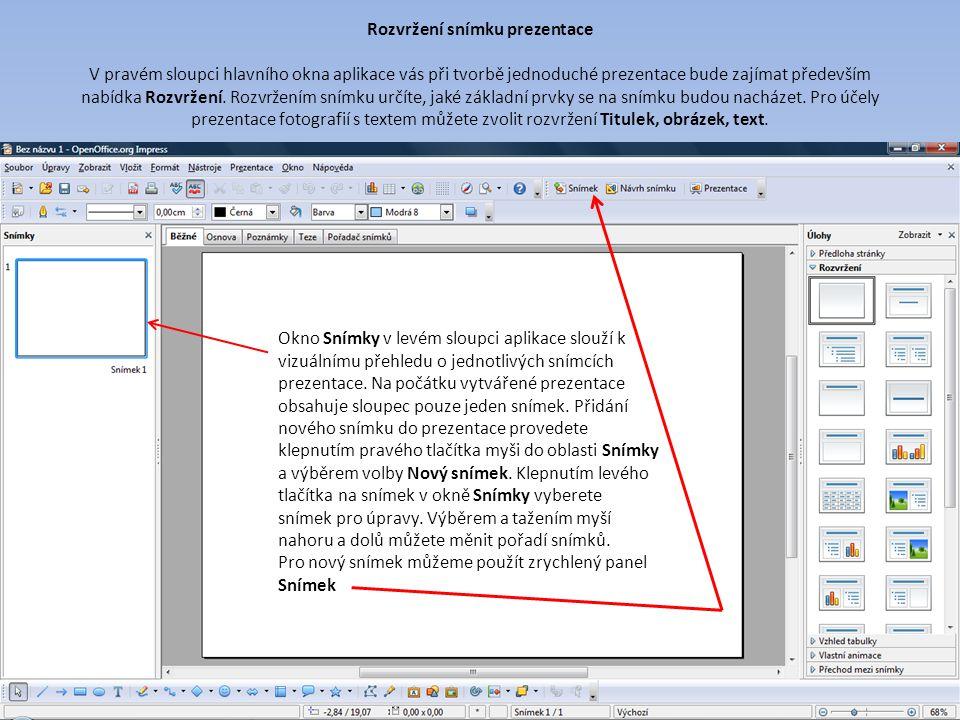 Rozvržení snímku prezentace V pravém sloupci hlavního okna aplikace vás při tvorbě jednoduché prezentace bude zajímat především nabídka Rozvržení.