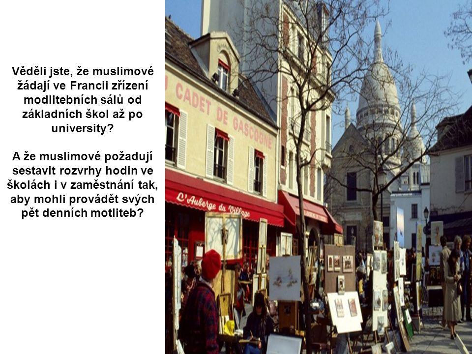 Věděli jste, že muslimové žádají ve Francii zřízení modlitebních sálů od základních škol až po university.