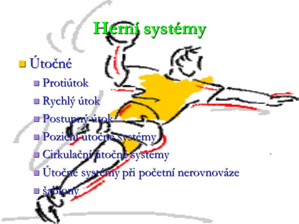 Herní systémy Útočné Útočné Protiútok Protiútok Rychlý útok Rychlý útok Postupný útok Postupný útok Poziční útočné systémy Poziční útočné systémy Cirk