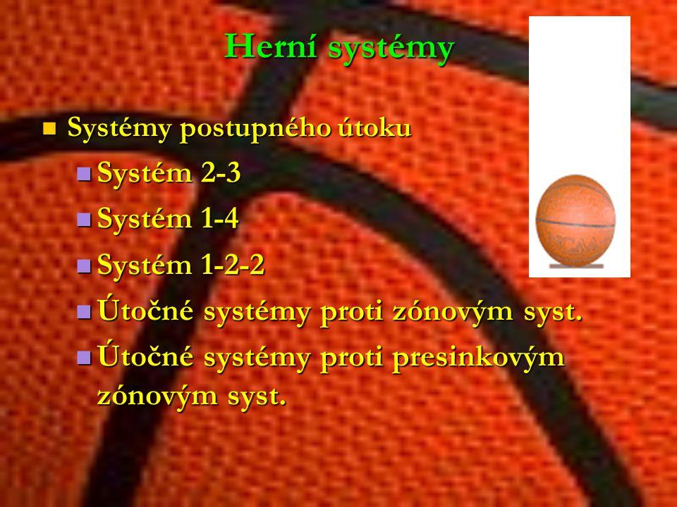 Herní systémy Systémy postupného útoku Systémy postupného útoku Systém 2-3 Systém 2-3 Systém 1-4 Systém 1-4 Systém 1-2-2 Systém 1-2-2 Útočné systémy p