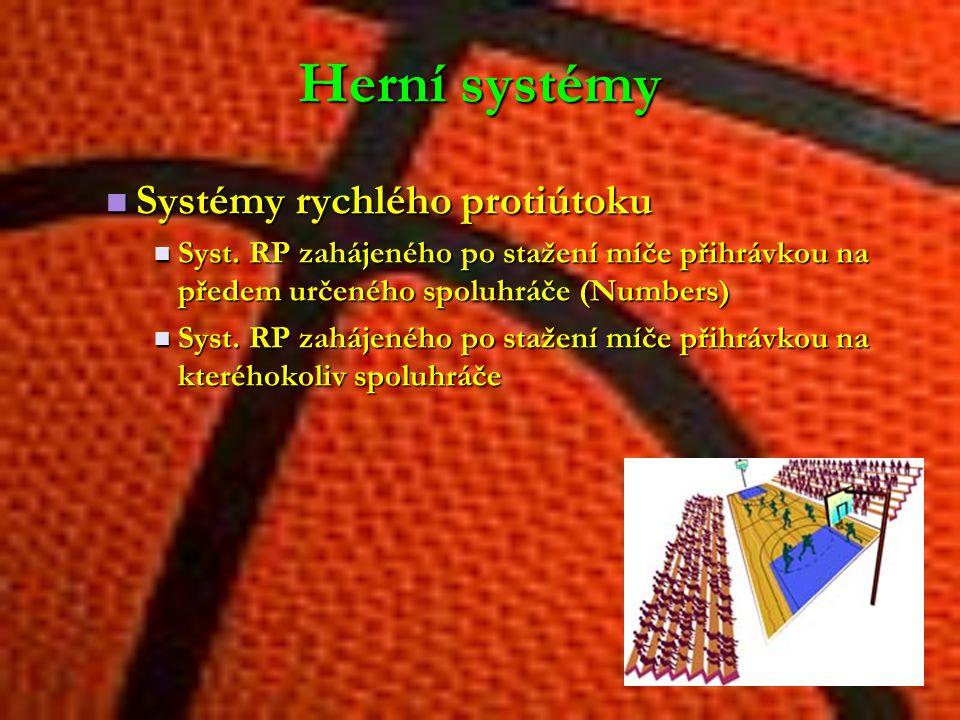 Herní systémy Systémy rychlého protiútoku Systémy rychlého protiútoku Syst. RP zahájeného po stažení míče přihrávkou na předem určeného spoluhráče (Nu