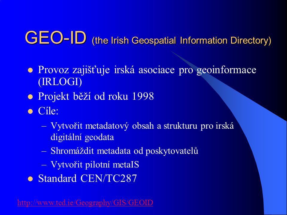 GEO-ID (the Irish Geospatial Information Directory) Provoz zajišťuje irská asociace pro geoinformace (IRLOGI) Projekt běží od roku 1998 Cíle: –Vytvoři
