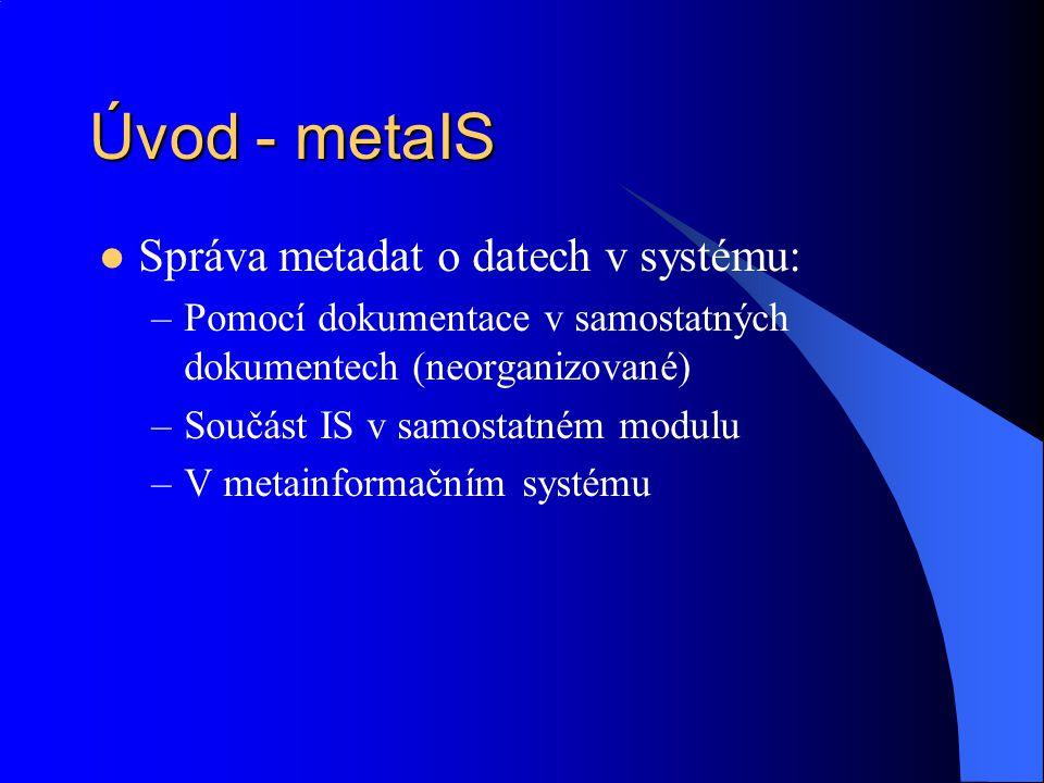 Úvod - metaIS Správa metadat o datech v systému: –Pomocí dokumentace v samostatných dokumentech (neorganizované) –Součást IS v samostatném modulu –V m