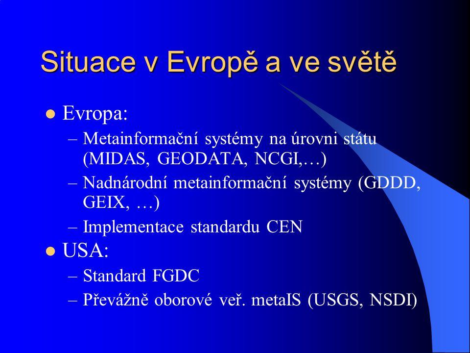 Situace v Evropě a ve světě Evropa: –Metainformační systémy na úrovni státu (MIDAS, GEODATA, NCGI,…) –Nadnárodní metainformační systémy (GDDD, GEIX, …