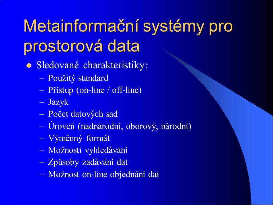 Metainformační systémy pro prostorová data Sledované charakteristiky: –Použitý standard –Přístup (on-line / off-line) –Jazyk –Počet datových sad –Úrov