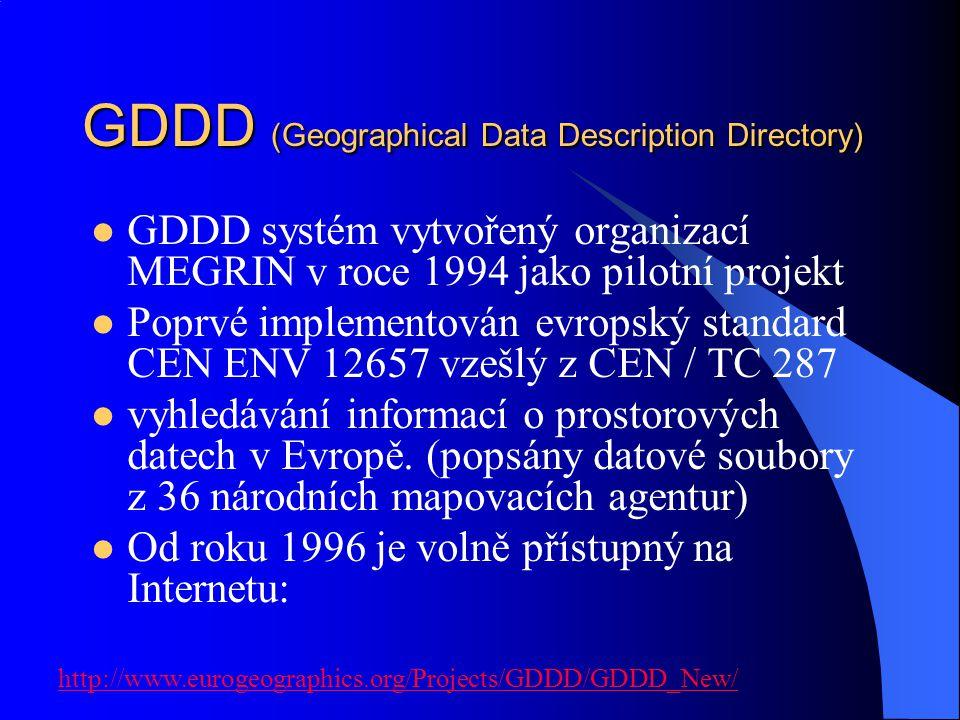 GDDD (Geographical Data Description Directory) GDDD systém vytvořený organizací MEGRIN v roce 1994 jako pilotní projekt Poprvé implementován evropský