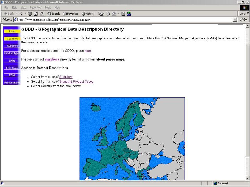 ESMI (European Spatial Metadata Infrastructure) Projekt již ukončen => výsledkem je fungující prototyp umožňující vyhledávání v různých metainformačních systémech (SNIG, NCGI) formou portálu Minimální požadavky na připojení k ESMI je schopnost poskytnout ESMI core metadata, které vychází ze standardu CEN Výsledkem projektu je také vznik užitečných tezaurů a vícejazyčných rozhraní založených na řízených seznamech Komunikace se systémem je založena na jazyku XML a architektuře CORBA