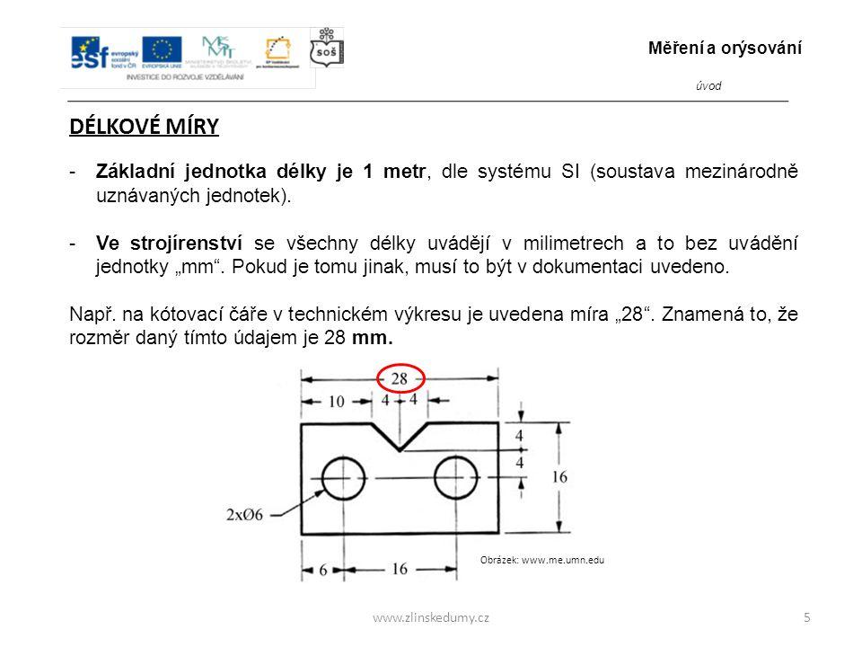 www.zlinskedumy.cz DÉLKOVÉ MÍRY -Základní jednotka délky je 1 metr, dle systému SI (soustava mezinárodně uznávaných jednotek).