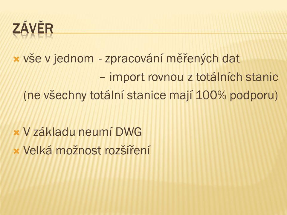  vše v jednom - zpracování měřených dat – import rovnou z totálních stanic (ne všechny totální stanice mají 100% podporu)  V základu neumí DWG  Vel
