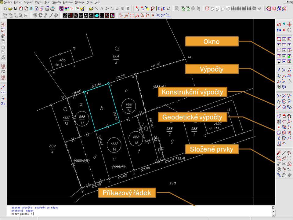 Okno Výpočty Konstrukční výpočty Geodetické výpočty Složené prvky Příkazový řádek