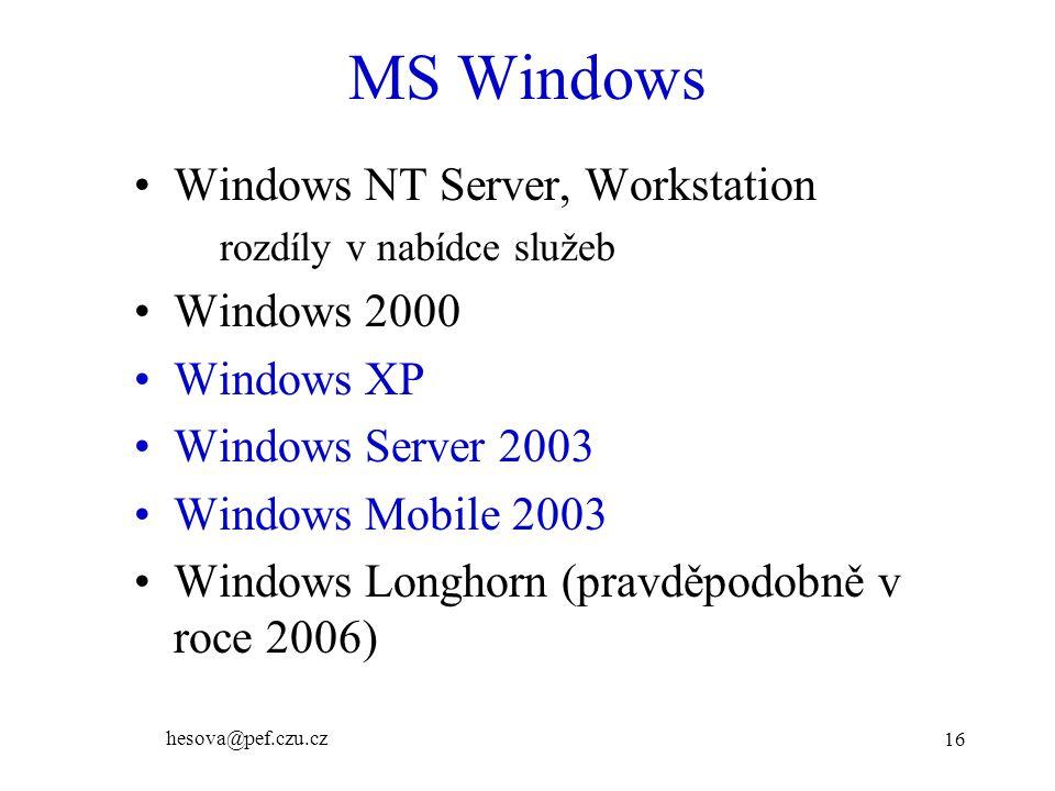 hesova@pef.czu.cz 16 MS Windows Windows NT Server, Workstation rozdíly v nabídce služeb Windows 2000 Windows XP Windows Server 2003 Windows Mobile 200