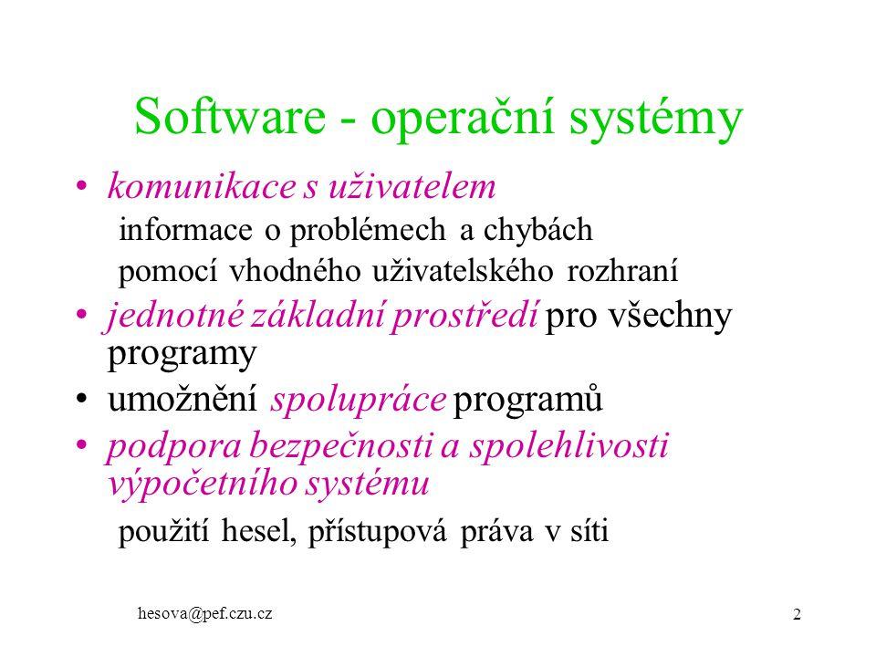 hesova@pef.czu.cz 2 Software - operační systémy komunikace s uživatelem informace o problémech a chybách pomocí vhodného uživatelského rozhraní jednotné základní prostředí pro všechny programy umožnění spolupráce programů podpora bezpečnosti a spolehlivosti výpočetního systému použití hesel, přístupová práva v síti
