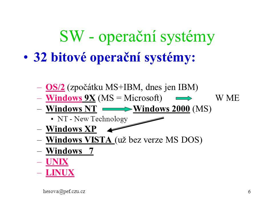 hesova@pef.czu.cz 6 SW - operační systémy 32 bitové operační systémy: –OS/2 (zpočátku MS+IBM, dnes jen IBM) –Windows 9X (MS = Microsoft)W ME –Windows NT Windows 2000 (MS) NT - New Technology –Windows XP –Windows VISTA (už bez verze MS DOS) –Windows 7 –UNIX –LINUX