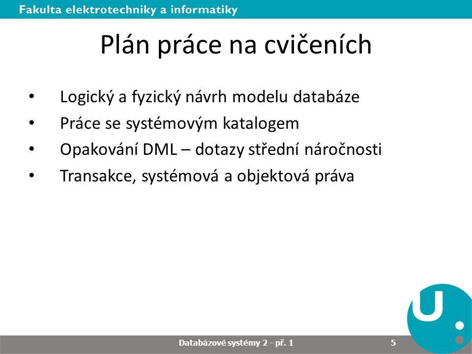 Plán práce na cvičeních Logický a fyzický návrh modelu databáze Práce se systémovým katalogem Opakování DML – dotazy střední náročnosti Transakce, systémová a objektová práva Databázové systémy 2 - př.