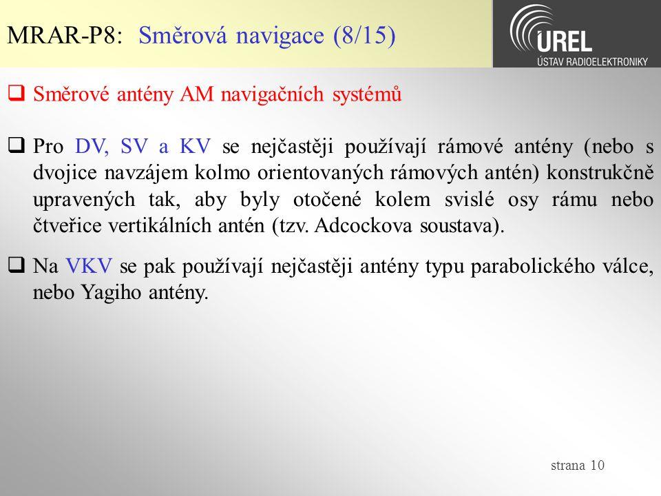 strana 10 MRAR-P8: Směrová navigace (8/15)  Směrové antény AM navigačních systémů  Pro DV, SV a KV se nejčastěji používají rámové antény (nebo s dvo