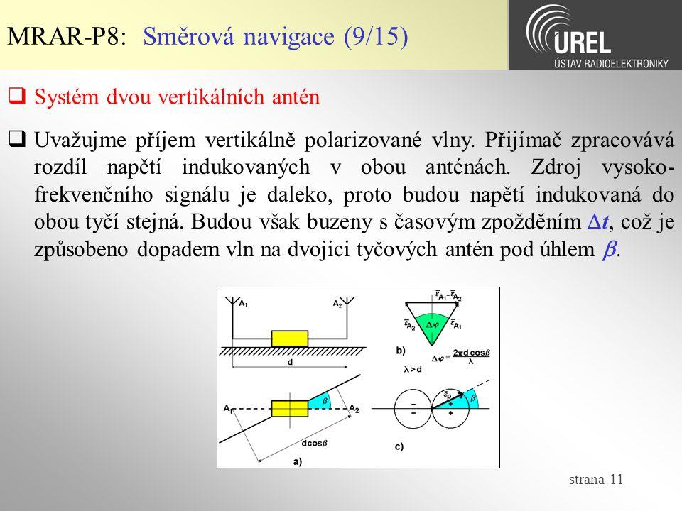 strana 11 MRAR-P8: Směrová navigace (9/15)  Systém dvou vertikálních antén  Uvažujme příjem vertikálně polarizované vlny. Přijímač zpracovává rozdíl
