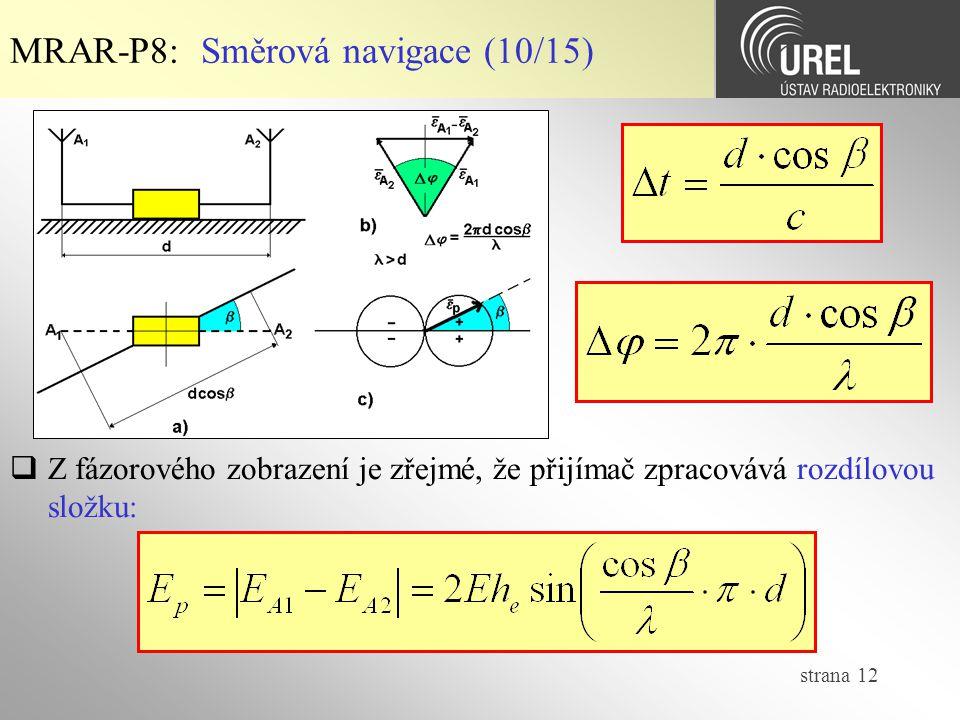 strana 12 MRAR-P8: Směrová navigace (10/15)  Z fázorového zobrazení je zřejmé, že přijímač zpracovává rozdílovou složku: