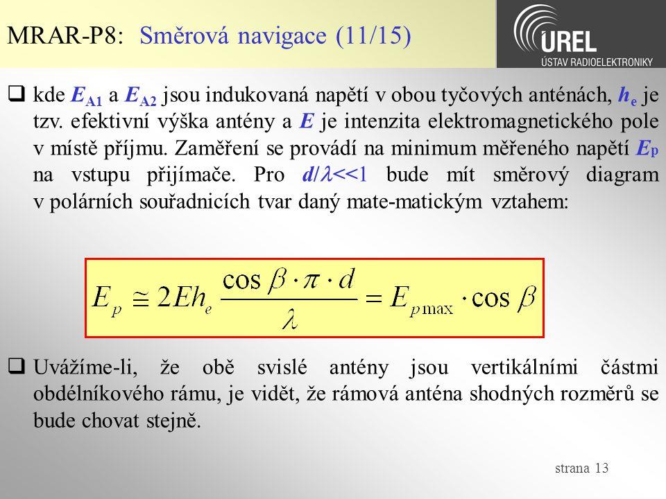 strana 13 MRAR-P8: Směrová navigace (11/15)  kde E A1 a E A2 jsou indukovaná napětí v obou tyčových anténách, h e je tzv. efektivní výška antény a E
