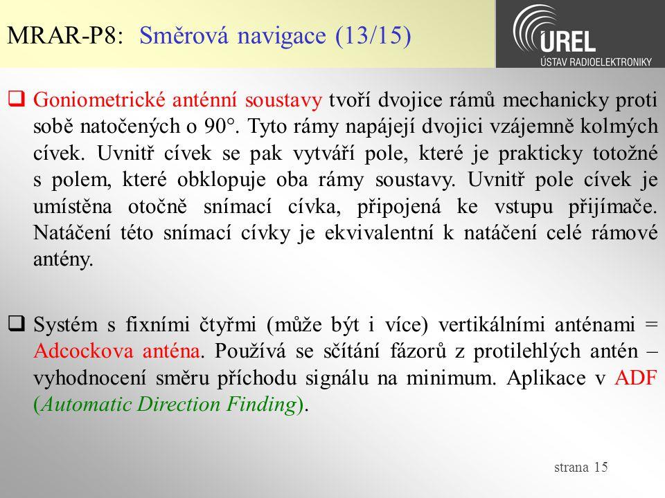 strana 15 MRAR-P8: Směrová navigace (13/15)  Systém s fixními čtyřmi (může být i více) vertikálními anténami = Adcockova anténa. Používá se sčítání f