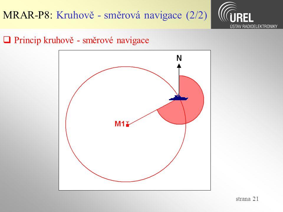 strana 21 MRAR-P8: Kruhově - směrová navigace (2/2)  Princip kruhově - směrové navigace