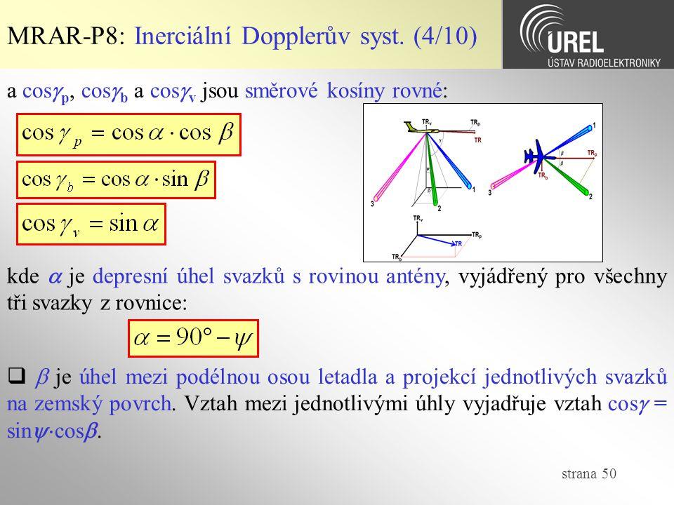 strana 50 MRAR-P8: Inerciální Dopplerův syst. (4/10) a cos  p, cos  b a cos  v jsou směrové kosíny rovné: kde  je depresní úhel svazků s rovinou a