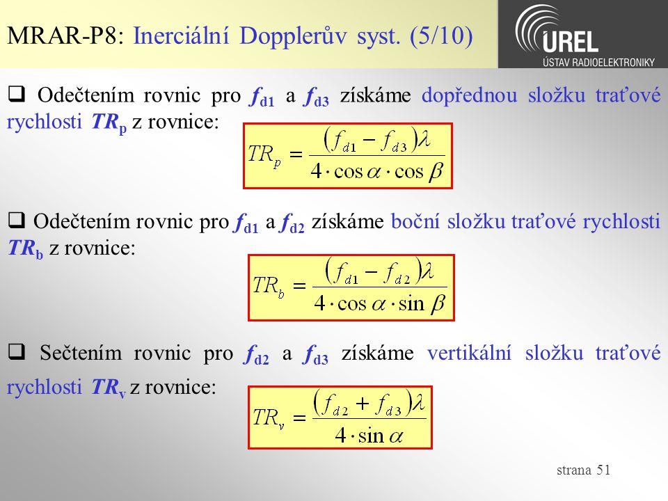 strana 51 MRAR-P8: Inerciální Dopplerův syst. (5/10)  Odečtením rovnic pro f d1 a f d3 získáme dopřednou složku traťové rychlosti TR p z rovnice:  O