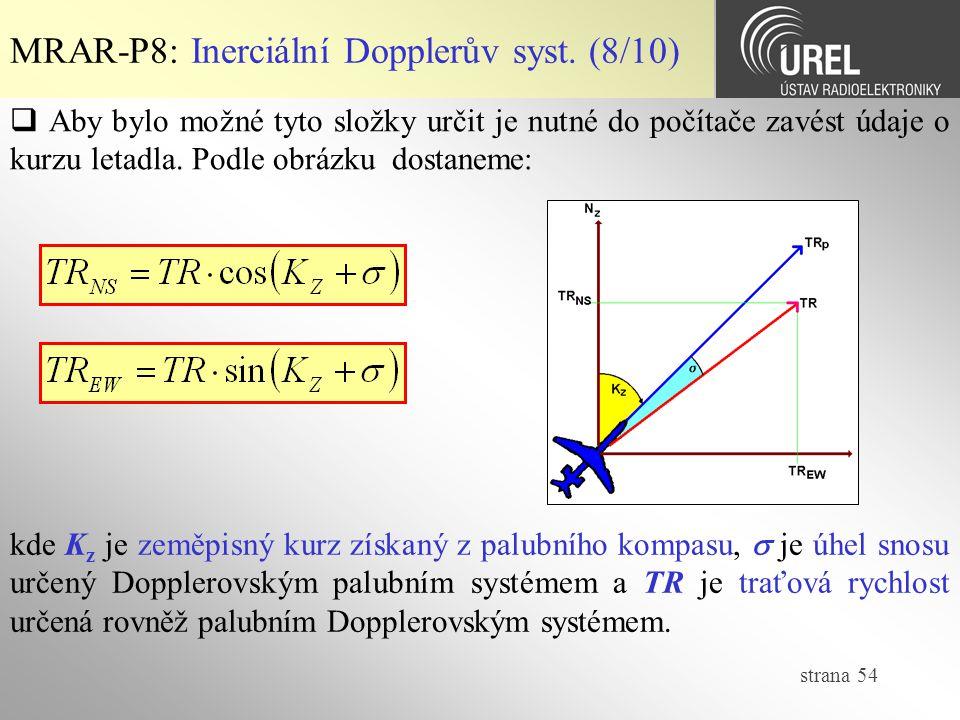 strana 54 MRAR-P8: Inerciální Dopplerův syst. (8/10)  Aby bylo možné tyto složky určit je nutné do počítače zavést údaje o kurzu letadla. Podle obráz