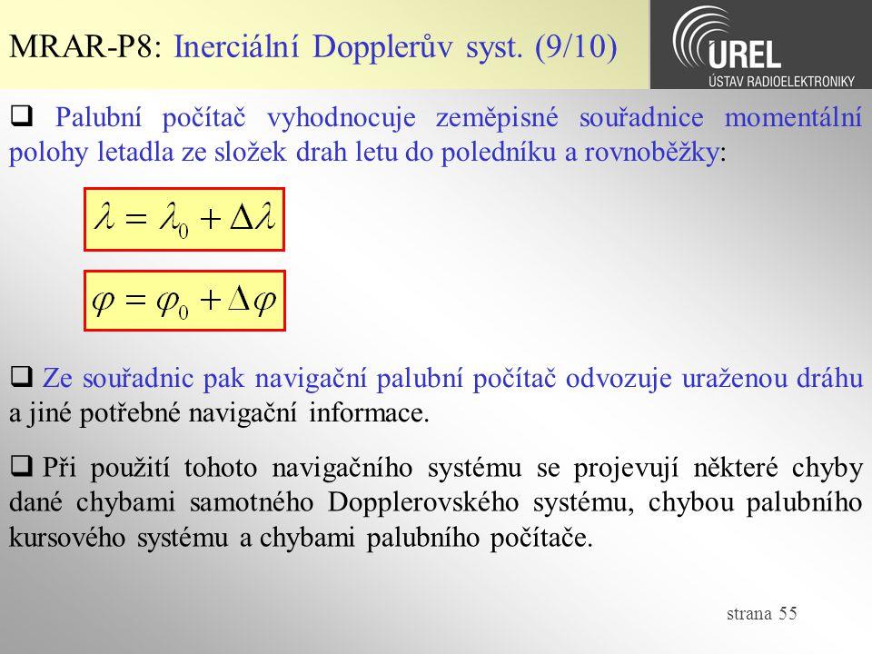 strana 55 MRAR-P8: Inerciální Dopplerův syst. (9/10)  Palubní počítač vyhodnocuje zeměpisné souřadnice momentální polohy letadla ze složek drah letu