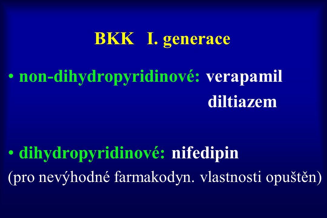 BKK I. generace non-dihydropyridinové: verapamil diltiazem dihydropyridinové: nifedipin (pro nevýhodné farmakodyn. vlastnosti opuštěn)