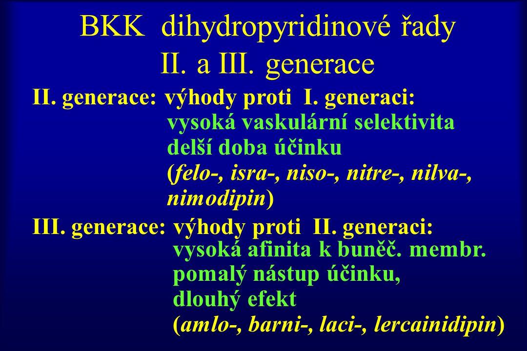 BKK dihydropyridinové řady II. a III. generace II. generace: výhody proti I. generaci: vysoká vaskulární selektivita delší doba účinku (felo-, isra-,