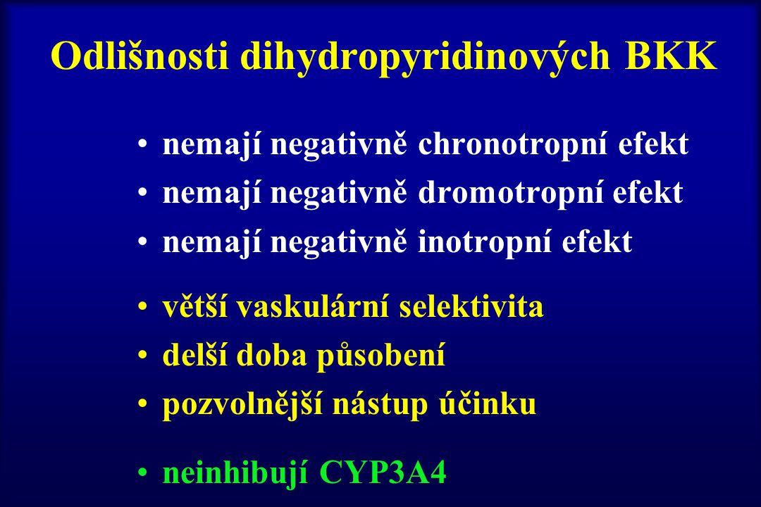 Odlišnosti dihydropyridinových BKK nemají negativně chronotropní efekt nemají negativně dromotropní efekt nemají negativně inotropní efekt větší vasku