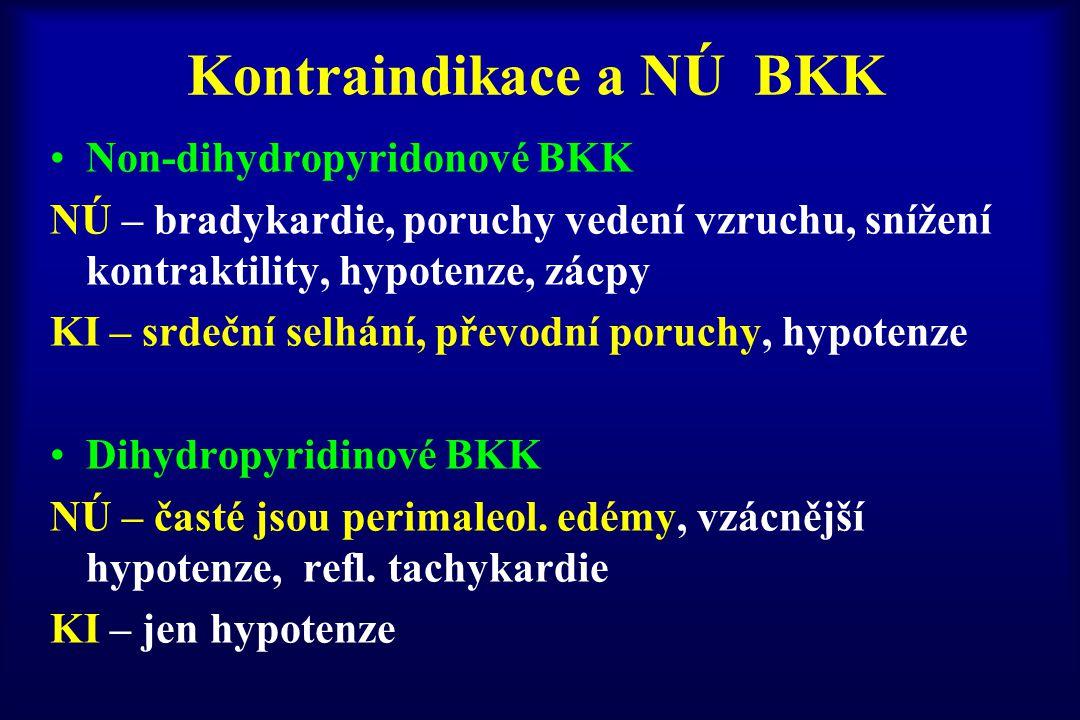 Kontraindikace a NÚ BKK Non-dihydropyridonové BKK NÚ – bradykardie, poruchy vedení vzruchu, snížení kontraktility, hypotenze, zácpy KI – srdeční selhá