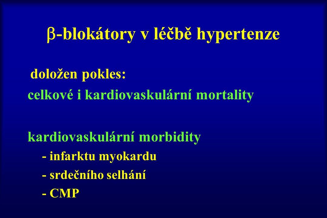  -blokátory v léčbě hypertenze doložen pokles: celkové i kardiovaskulární mortality kardiovaskulární morbidity - infarktu myokardu - srdečního selhán