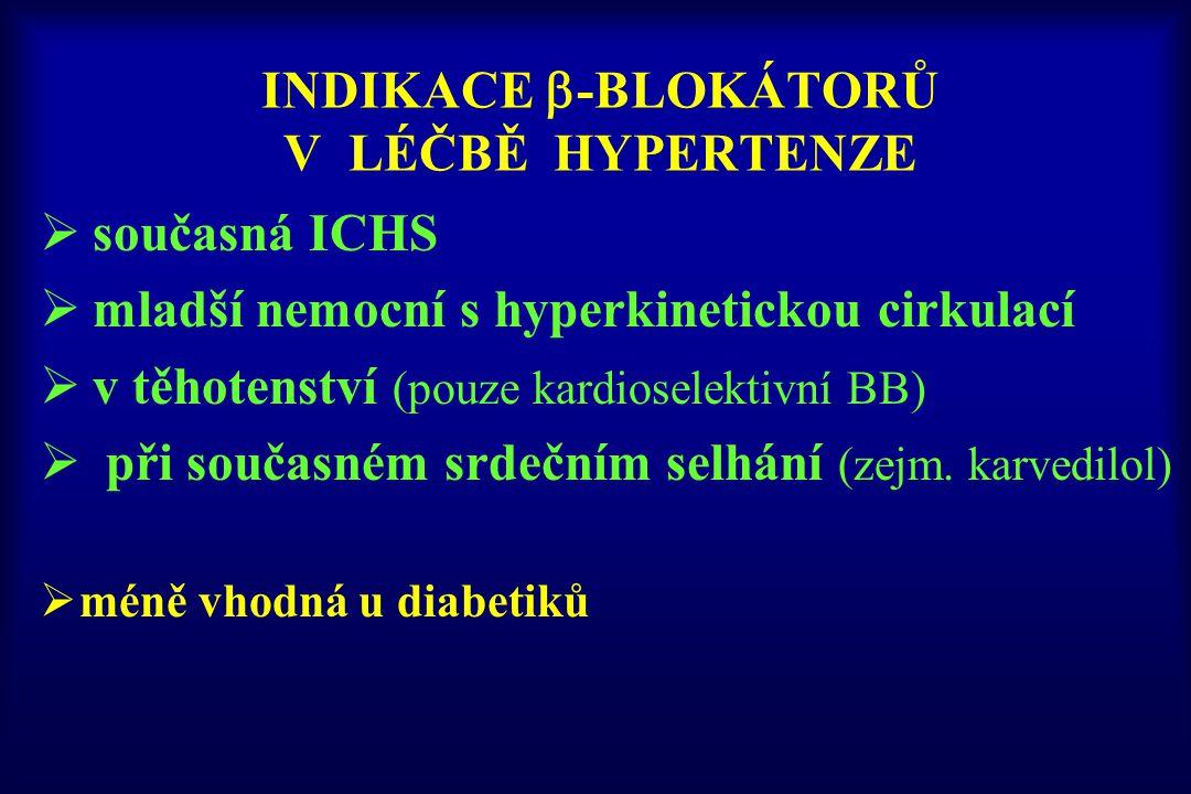 INDIKACE  -BLOKÁTORŮ V LÉČBĚ HYPERTENZE  současná ICHS  mladší nemocní s hyperkinetickou cirkulací  v těhotenství (pouze kardioselektivní BB)  př