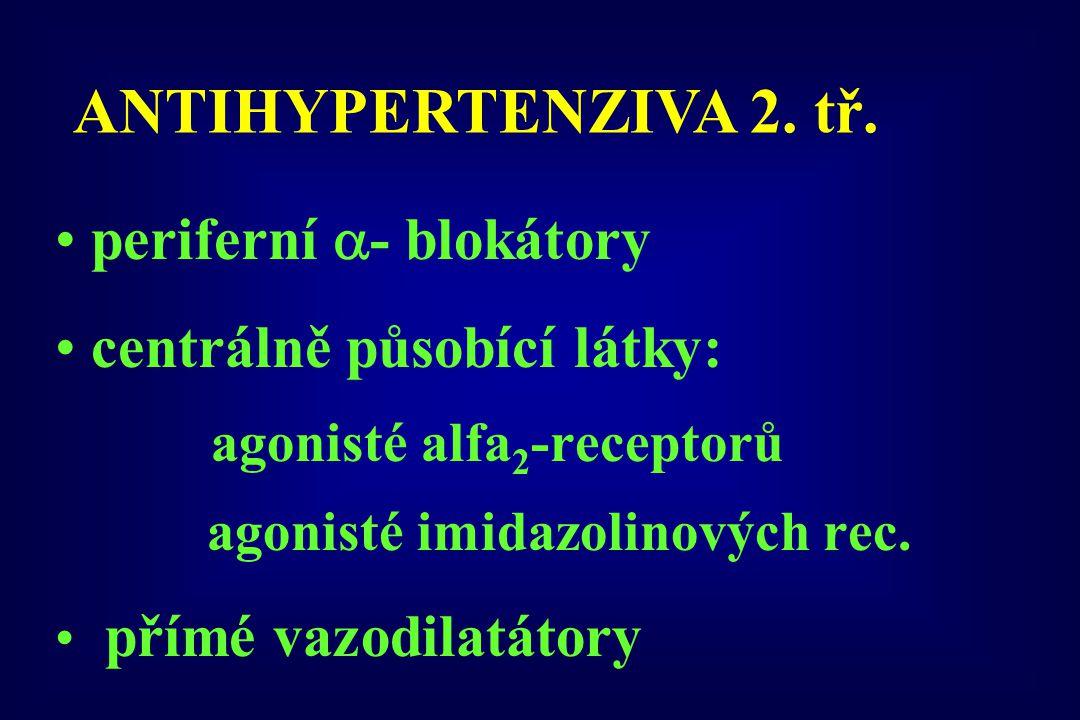 periferní  - blokátory centrálně působící látky: agonisté alfa 2 -receptorů agonisté imidazolinových rec. přímé vazodilatátory ANTIHYPERTENZIVA 2. tř