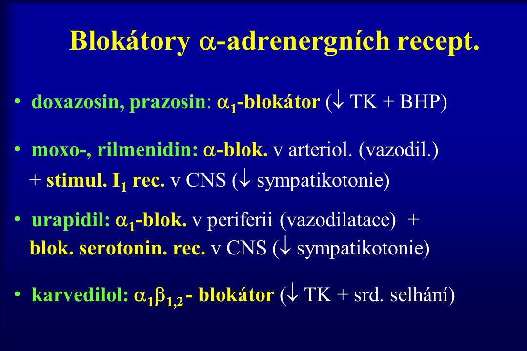 Blokátory  -adrenergních recept. doxazosin, prazosin:  1 -blokátor (  TK + BHP) moxo-, rilmenidin:  -blok. v arteriol. (vazodil.) + stimul. I 1 re