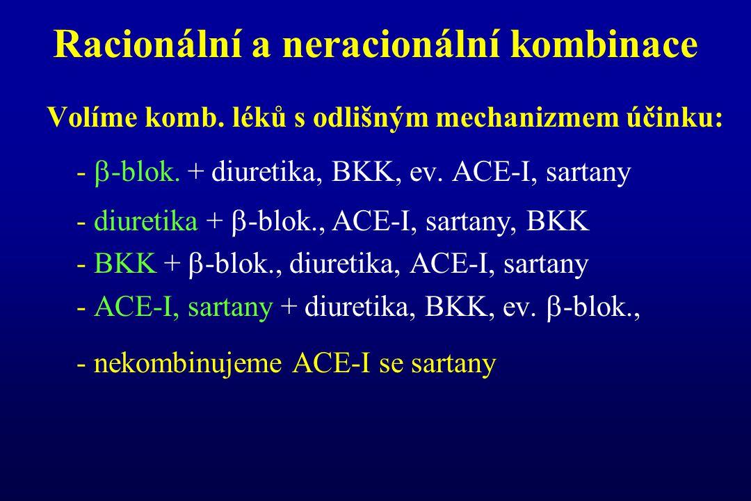 Racionální a neracionální kombinace Volíme komb. léků s odlišným mechanizmem účinku: -  -blok. + diuretika, BKK, ev. ACE-I, sartany - diuretika +  -