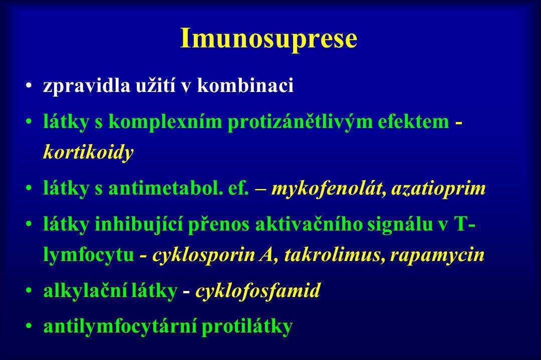 Imunosuprese zpravidla užití v kombinaci látky s komplexním protizánětlivým efektem - kortikoidy látky s antimetabol. ef. – mykofenolát, azatioprim lá