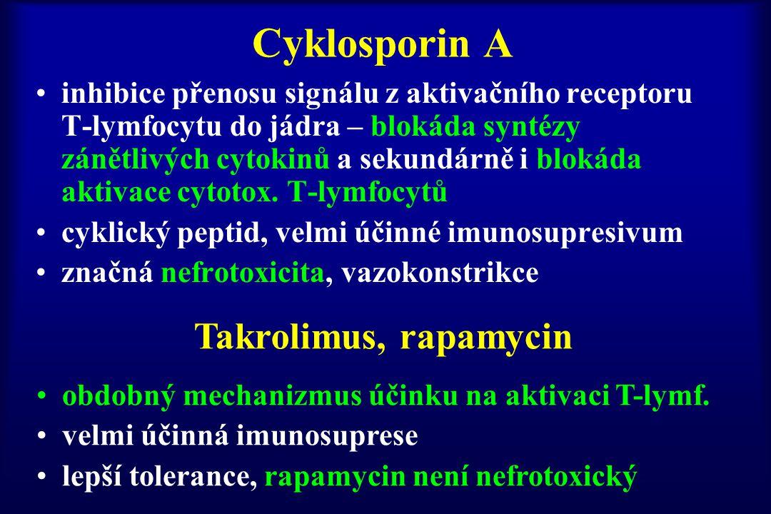 Cyklosporin A inhibice přenosu signálu z aktivačního receptoru T-lymfocytu do jádra – blokáda syntézy zánětlivých cytokinů a sekundárně i blokáda akti