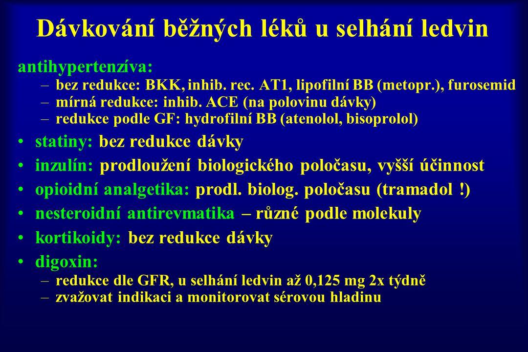 Dávkování běžných léků u selhání ledvin antihypertenzíva: –bez redukce: BKK, inhib. rec. AT1, lipofilní BB (metopr.), furosemid –mírná redukce: inhib.