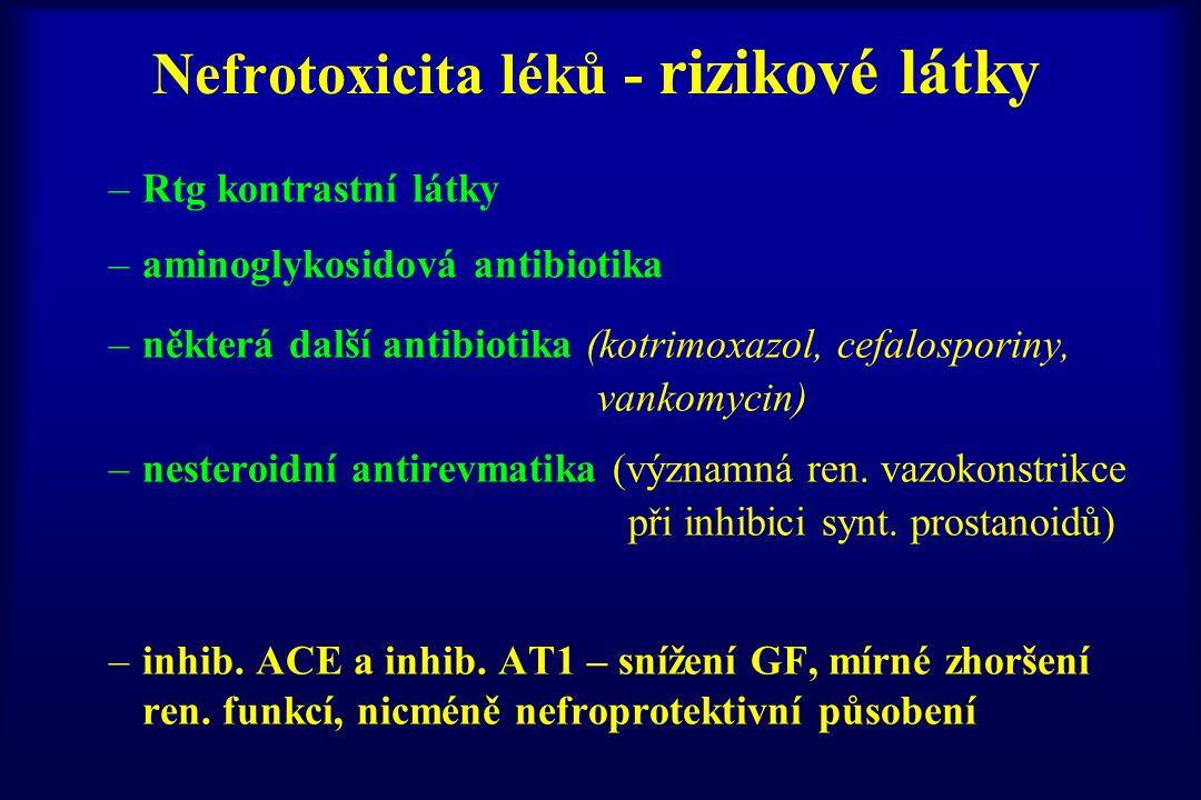 Nefrotoxicita léků - rizikové látky –Rtg kontrastní látky –aminoglykosidová antibiotika –některá další antibiotika (kotrimoxazol, cefalosporiny, vanko