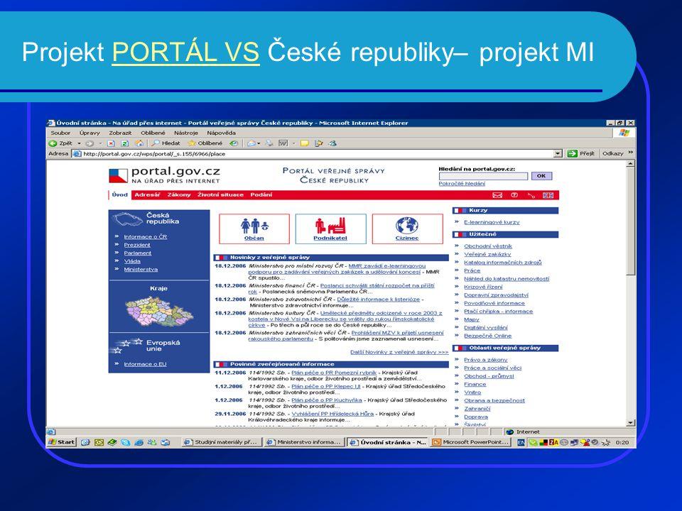 Projekt PORTÁL VS České republiky– projekt MIPORTÁL VS
