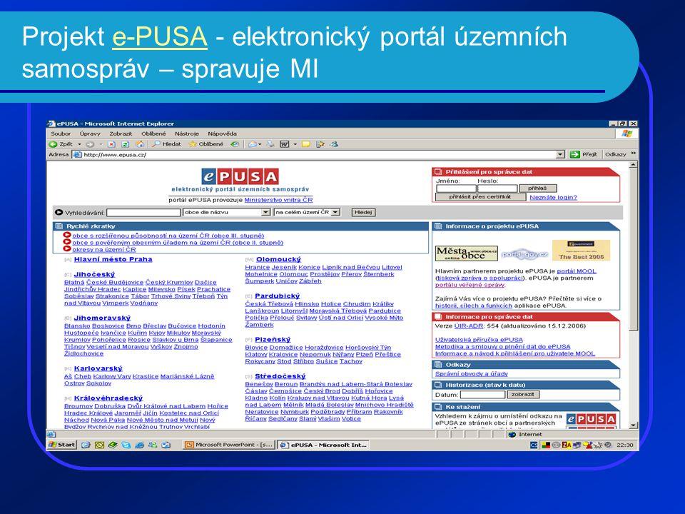Projekt e-PUSA - elektronický portál územních samospráv – spravuje MIe-PUSA
