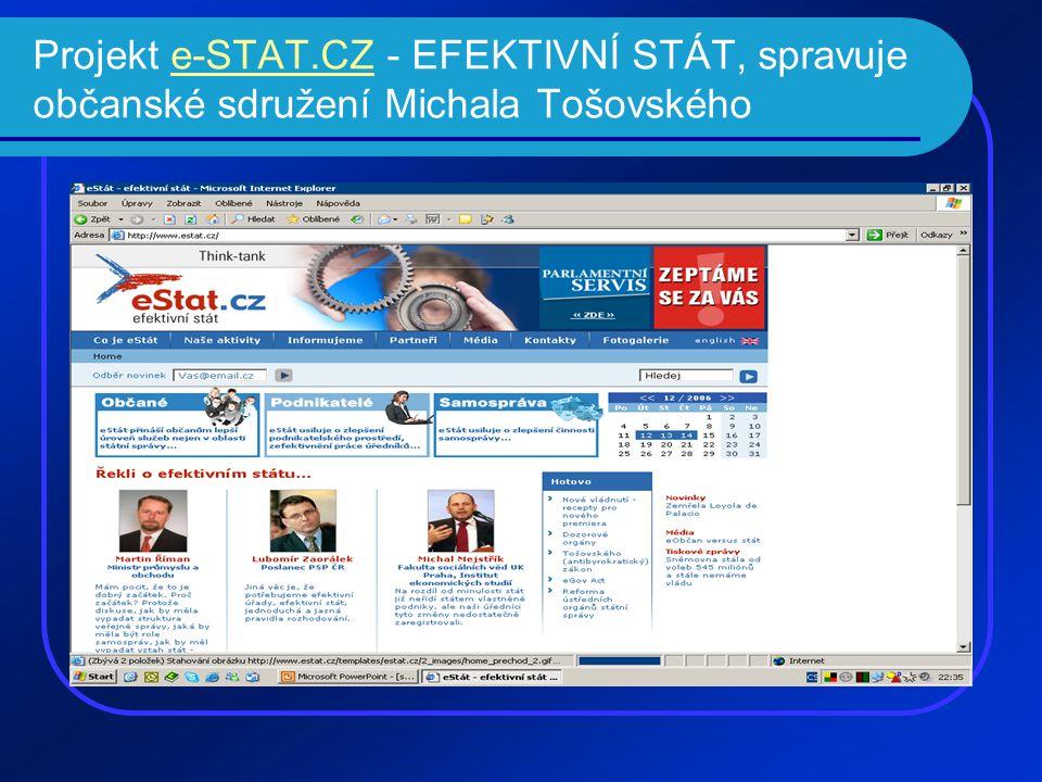 Projekt e-STAT.CZ - EFEKTIVNÍ STÁT, spravuje občanské sdružení Michala Tošovskéhoe-STAT.CZ