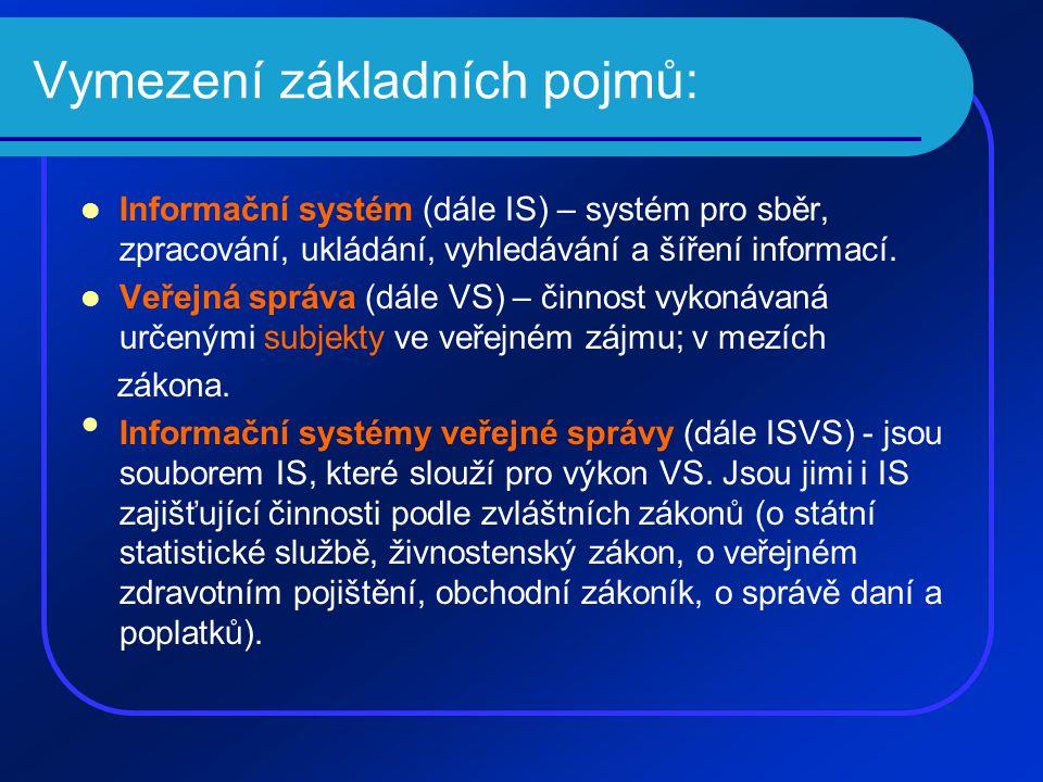 Vymezení základních pojmů: Informační systém (dále IS) – systém pro sběr, zpracování, ukládání, vyhledávání a šíření informací.