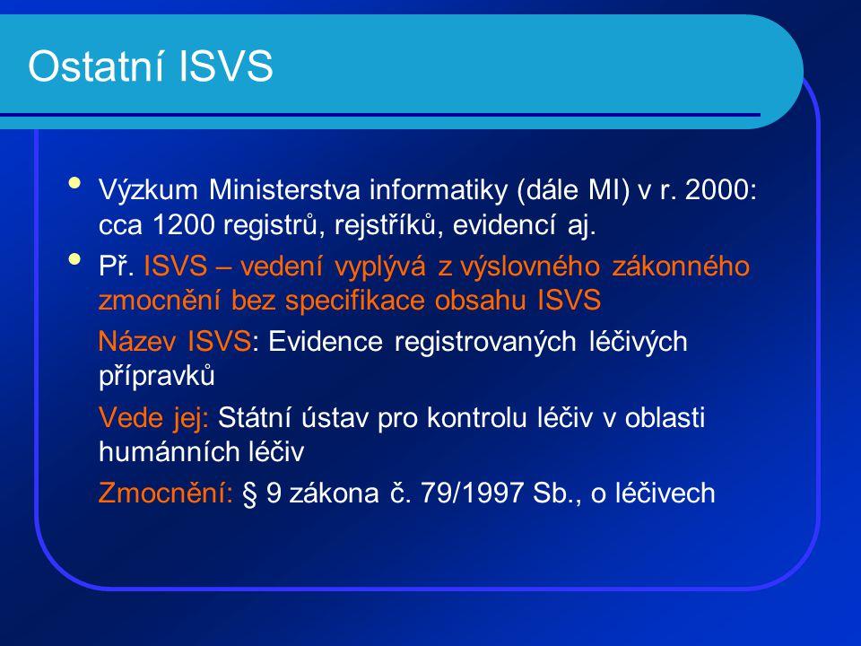 Ostatní ISVS Výzkum Ministerstva informatiky (dále MI) v r.