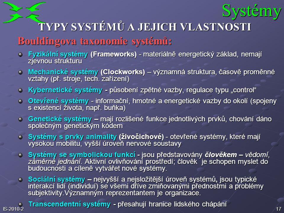 16IS-2010-2 TYPY SYSTÉMŮ A JEJICH VLASTNOSTI Checklandova taxonomie systémů: Přirozené systémy – systémy fyzikální a biologické; dělení na živé a neži