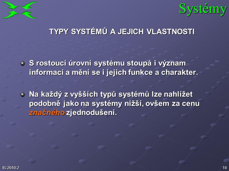 17IS-2010-2 TYPY SYSTÉMŮ A JEJICH VLASTNOSTI Bouldingova taxonomie systémů: Fyzikální systémy (Frameworks) - materiálně energetický základ, nemají zje